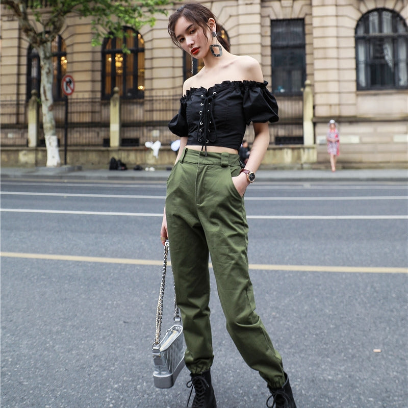 Women's Cargo Pants With High Waist