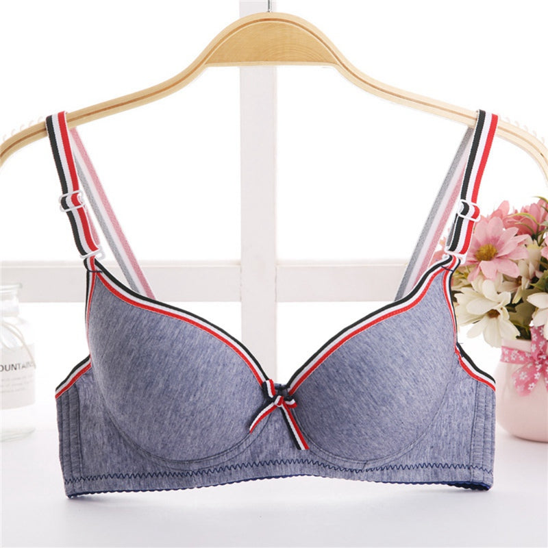 Women's Push-Up Striped Patchwork Bra