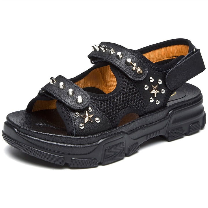 Women's Summer Genuine Leather Sandals With Rivets