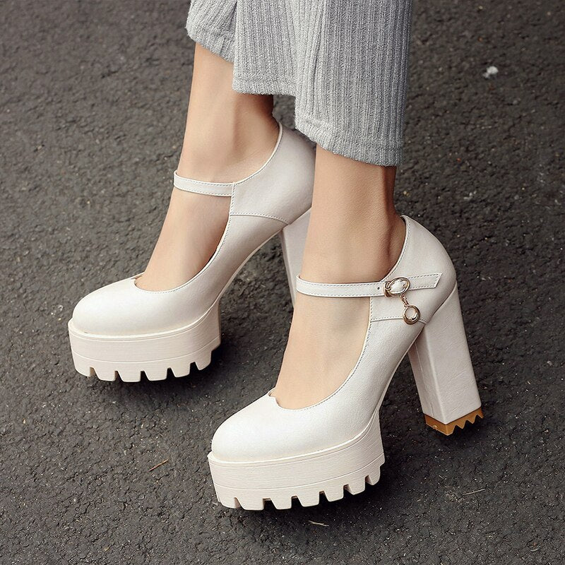 Women's Casual Soft Leather High Heels Pumps
