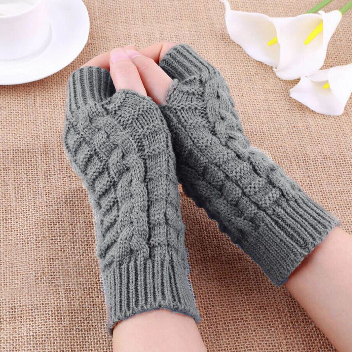 Women's Casual Knitted Warm Fingerless Gloves