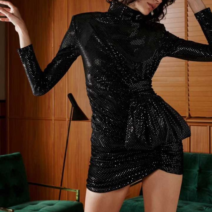 Women's Sheath Sequined High-Waist Long-Sleeved Dress