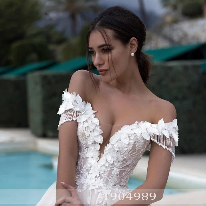 Women's Off-Shoulder Lace-Up Wedding Dress With Tassels