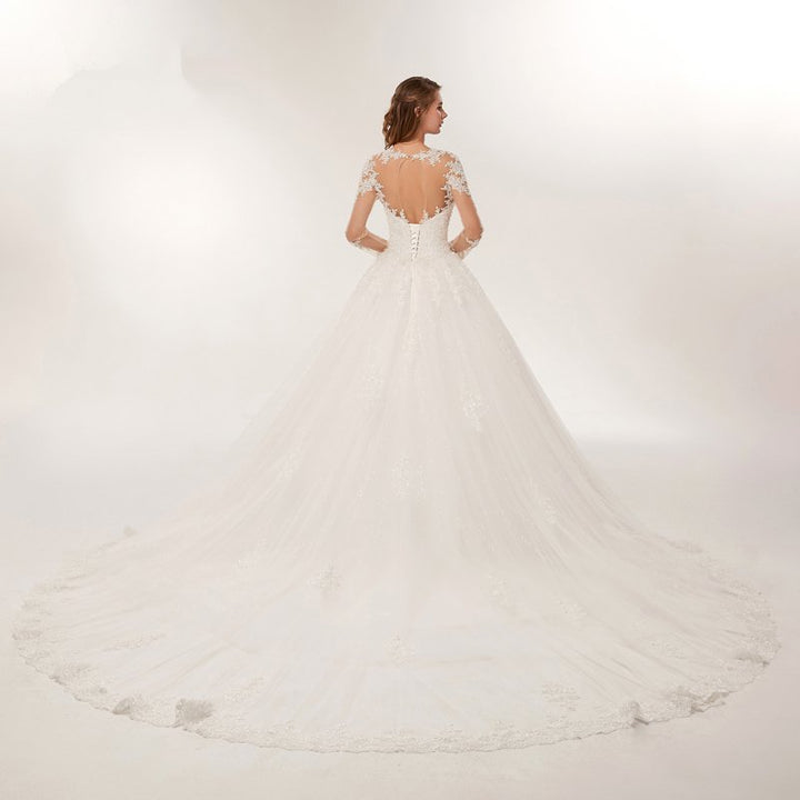 Women's Beaded O-Neck Long Wedding Dress With Court Train