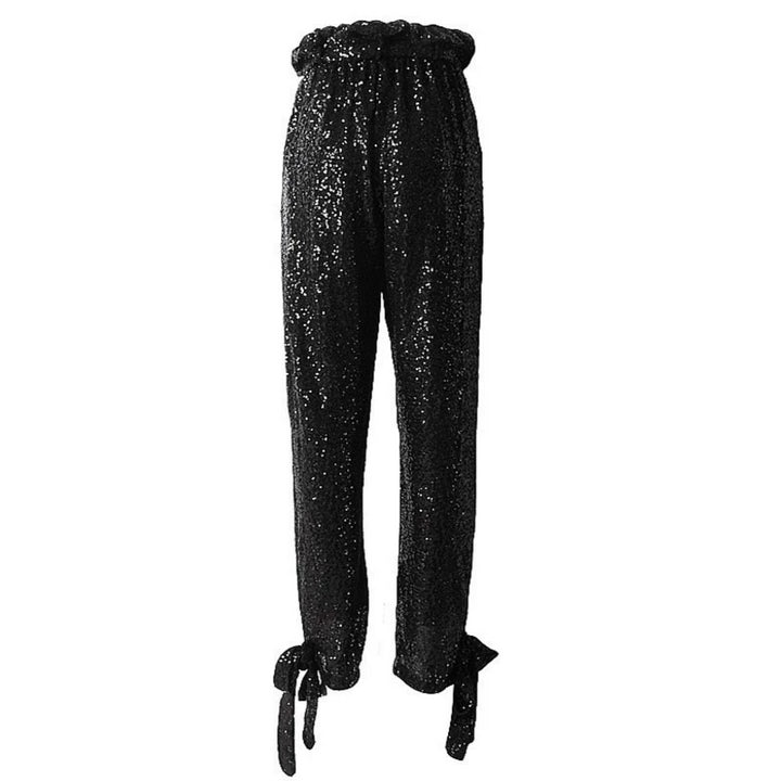 Women's Spring Sequin High-Waist Pants With Ruffles
