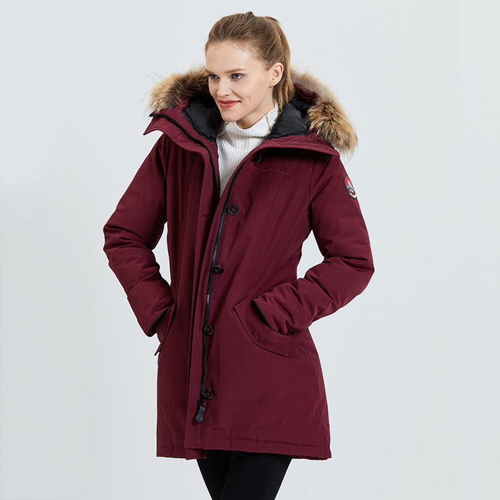 Women's Winter Casual Waterproof Thick Parka With Raccoon Fur