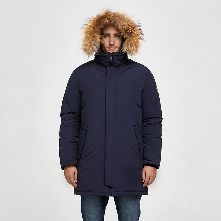 Men's Winter Casual Medium Warm Parka With Raccoon Fur