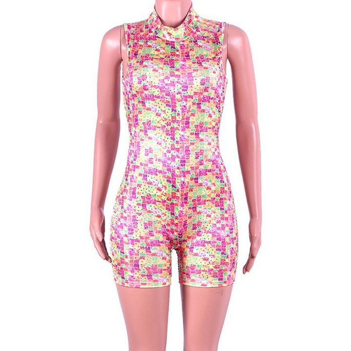 Women's Summer Sequin Skinny Two-Piece Romper With Zipper