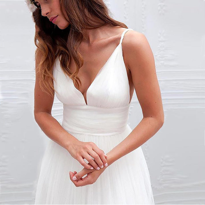 Women's V-Neck Backless Long Wedding Dress With Buttons