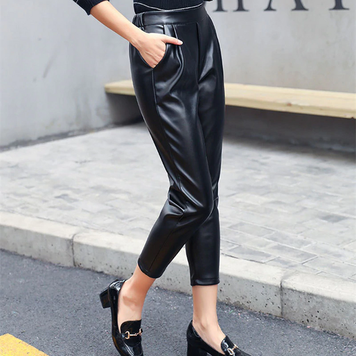 Women's Spring Casual PU Leather High-Waist Loose Pants