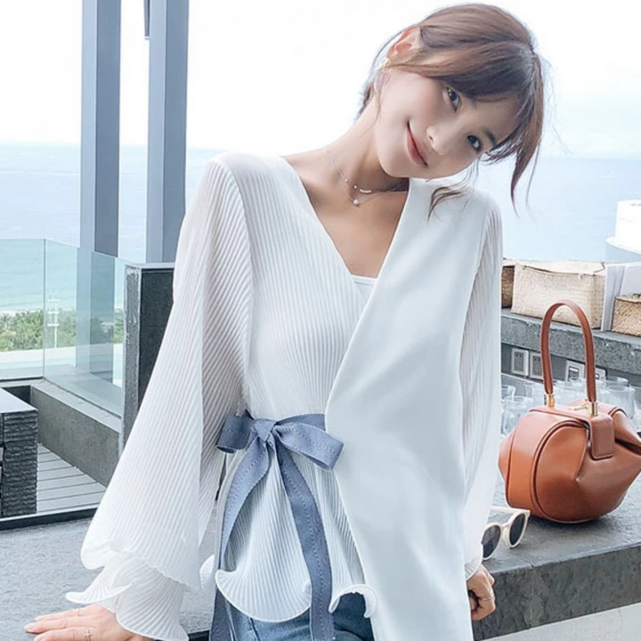 Women's Chiffon V-Neck Long-Sleeved Blouse With Belt