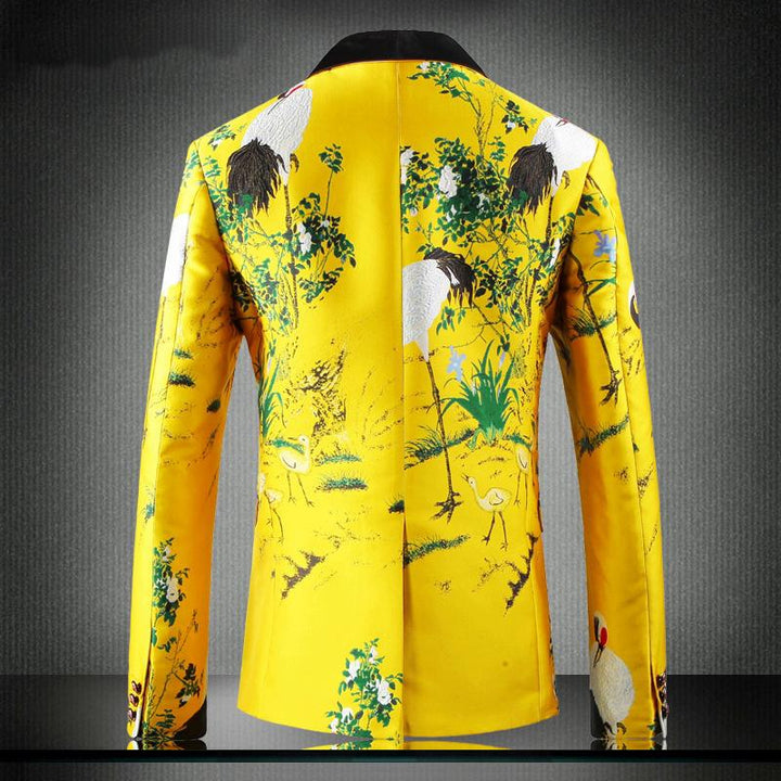Men's Wedding Slim Fit Blazer With Print