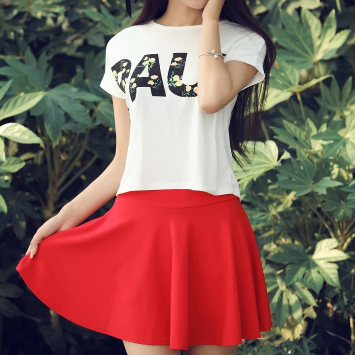 Women's Summer Casual Polyester High-Waist Mini Skirt Shorts