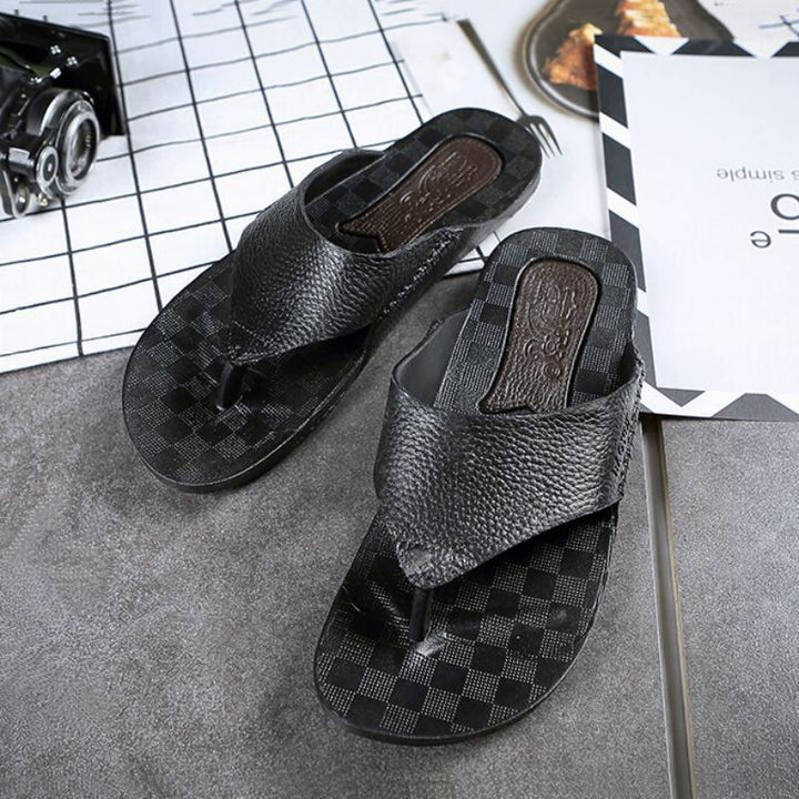 Men's Summer Casual Leather Flip Flops