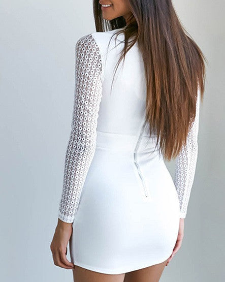 White Club Dress With Long Sleeves - Zorket