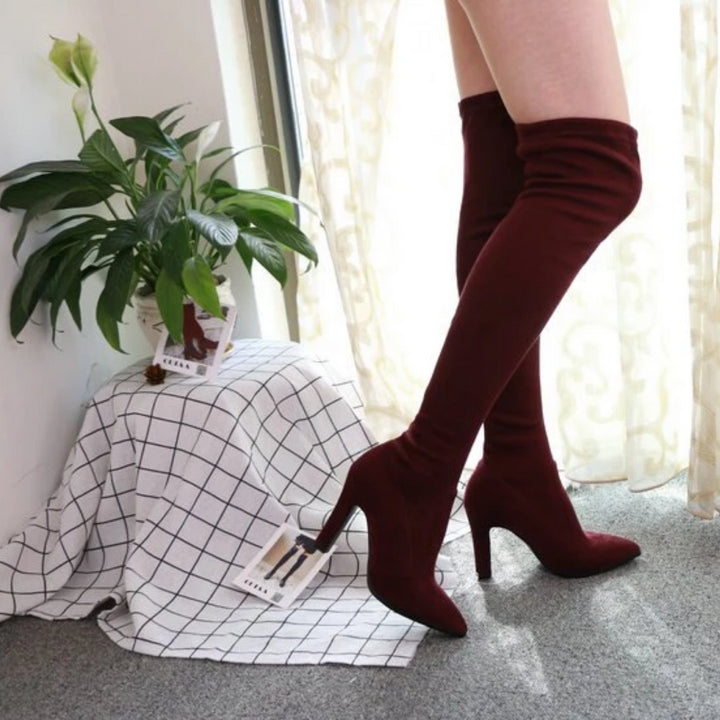 Women's Winter Slip-On High Boots With High Heels