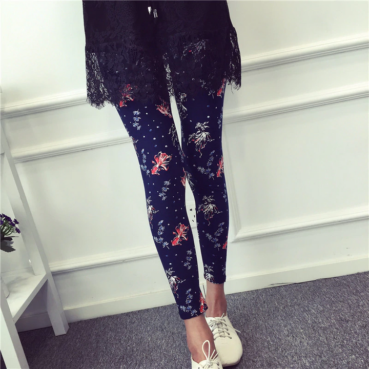 Women's Summer Casual Polyester Leggings With Print