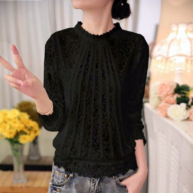 Chiffon Lace Blouse With Long Sleeves - Zorket