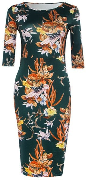 Sheath Dress With Flower Print - Zorket