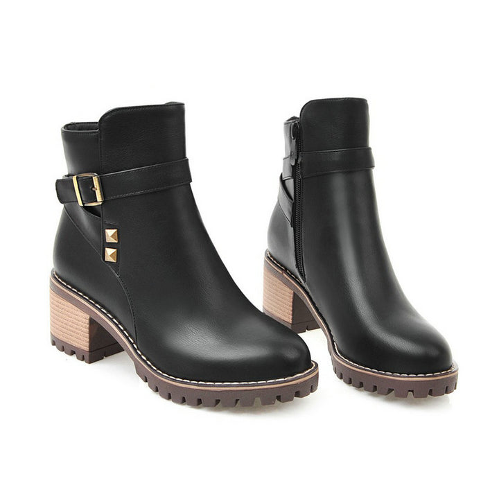 Women's Spring/Autumn PU Ankle Boots With Square High Heels