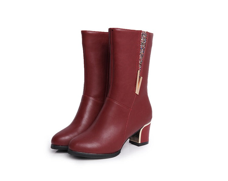 Women's Winter Warm PU Leather Mid-Calf Boots With Zipper
