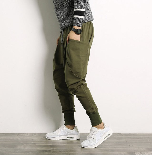 Men's Autumn Casual Cotton Harem Joggers With Big Pockets