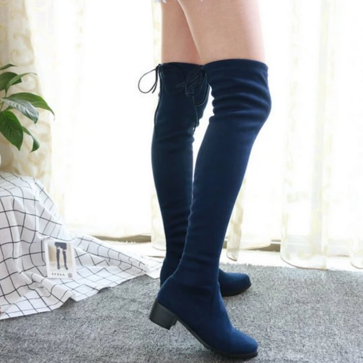 Women's Winter Fabric Lace-Up High Boots With Square Heels