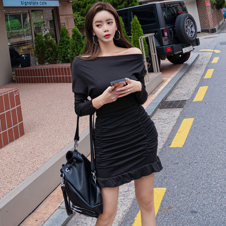 Women's Spring Sheath Long-Sleeved Mini Dress With Ruffles