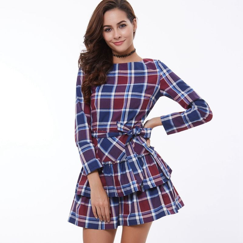 A-Line Plaid Dress With Belt - Zorket
