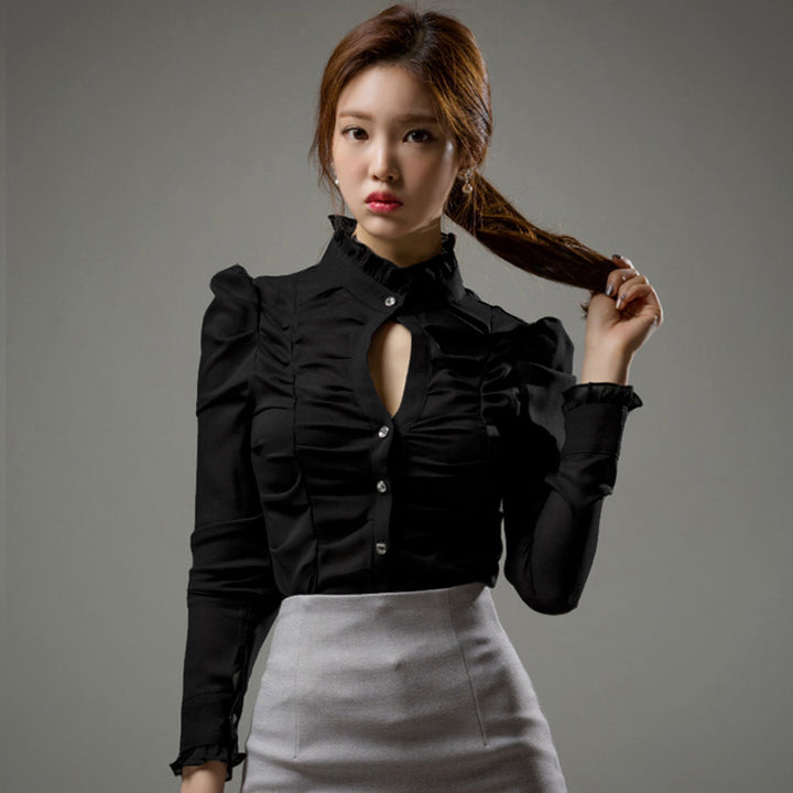 Women's Spring Puff-Sleeved Polyester Sheath Shirt