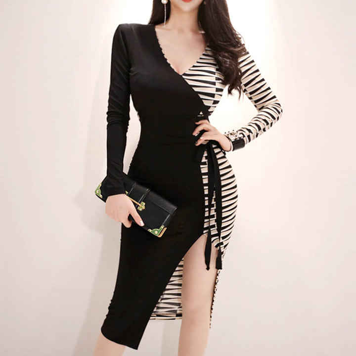 Women's Spring Sheath V-Neck Striped Dress