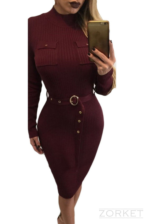 Dress – Knitted Bodycon Dress With Belt | Zorket
