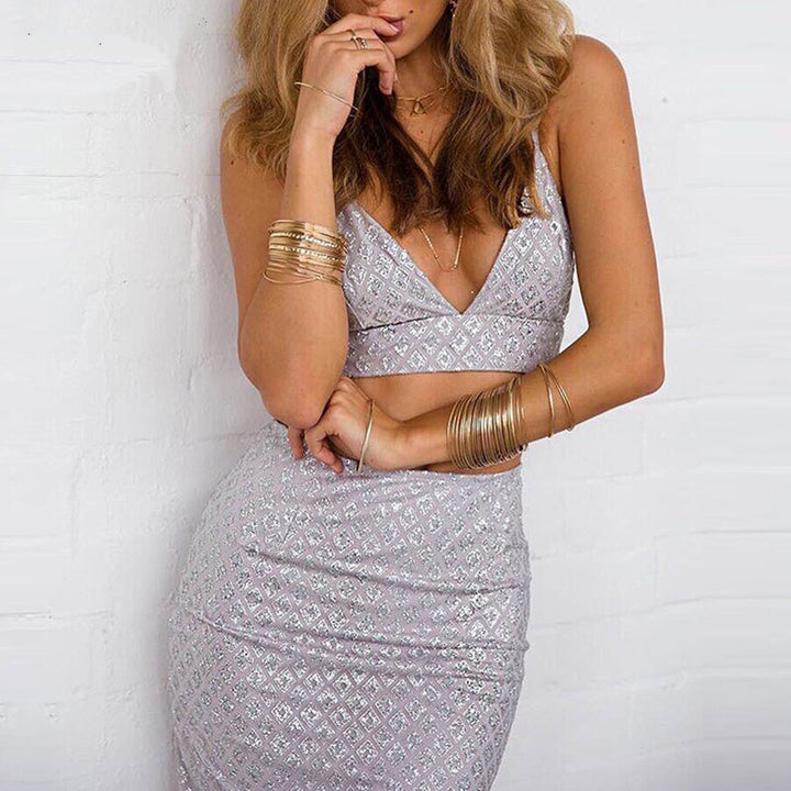 Women's Summer Casual Sequined V-Neck Two-Piece Dress