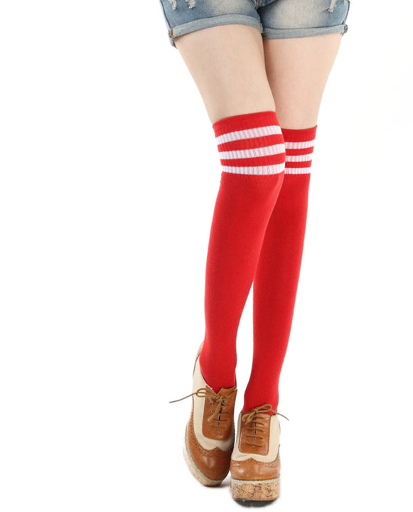 Women's Striped Cotton High Stockings