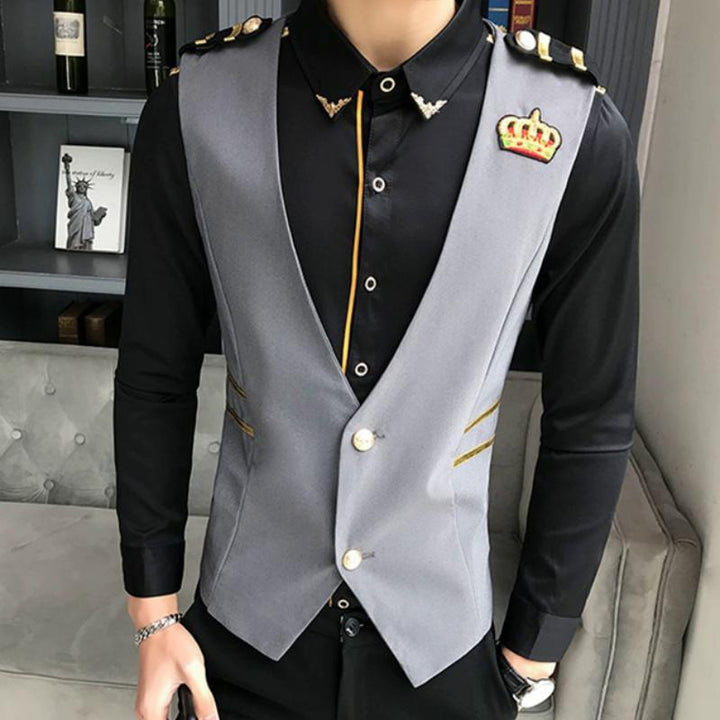 Men's Slim Fit Embroidered Vest With Epaulets