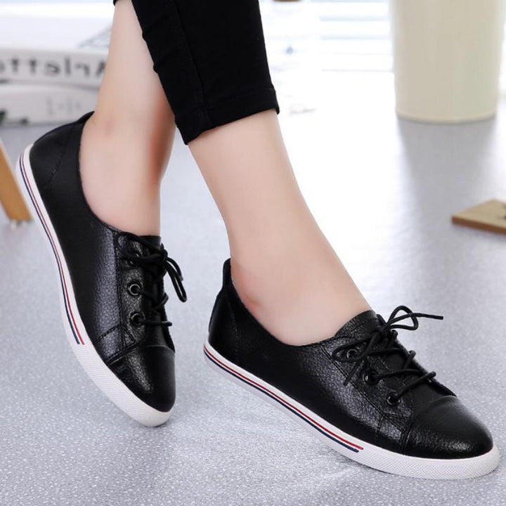 Women's Genuine Leather Flats With Lace Up