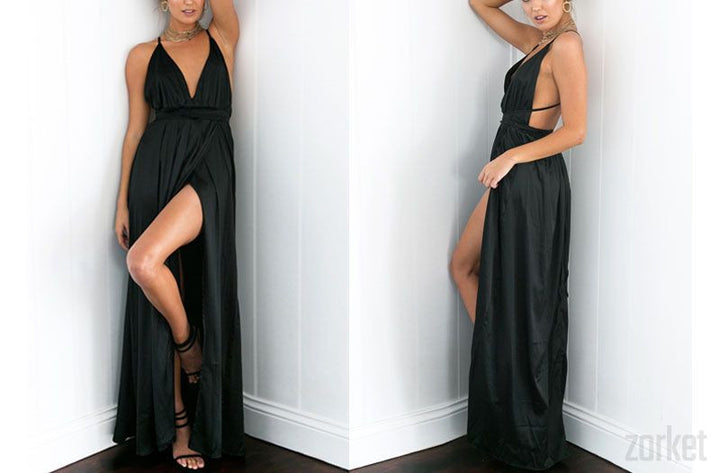 Satin Backless Long Dress - Zorket