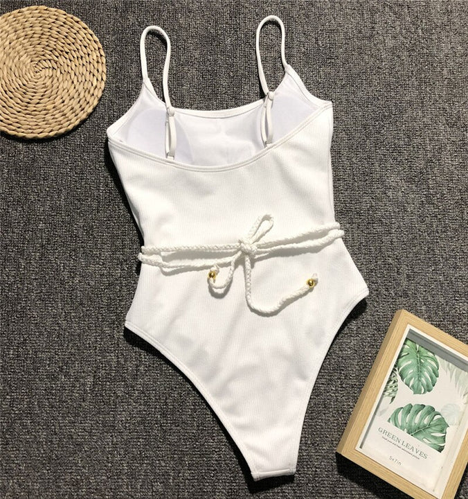 Women's Summer Ribbed Push-Up Polyester One-Piece Swimsuit