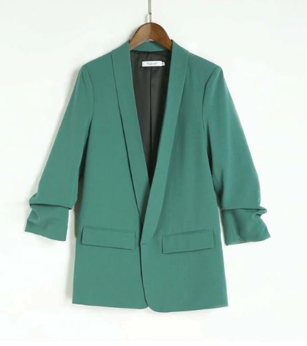 Women's Autumn Slim Office Jacket with Pleated Сuffs