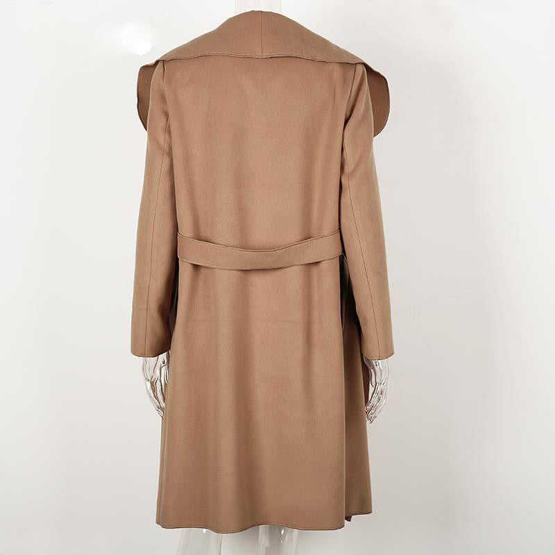 Coat – Elegant Belted Coat With Turn-Down Collar | Zorket