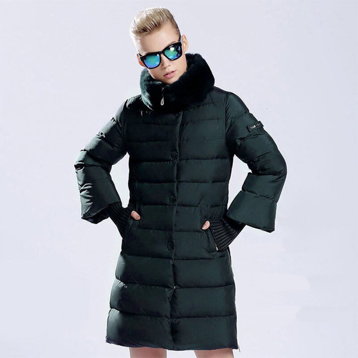 Women's Winter Thick Long Warm Parka With Rabbit Fur
