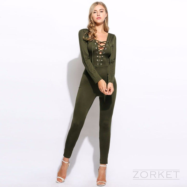 Jumpsuit – Lace Up Women's Jumpsuit With Long Sleeve And V-Neck | Zorket