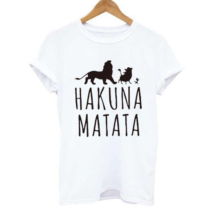 "Women's Summer Casual Spandex O-Neck ""Hakuna Matata"" T-Shirt"