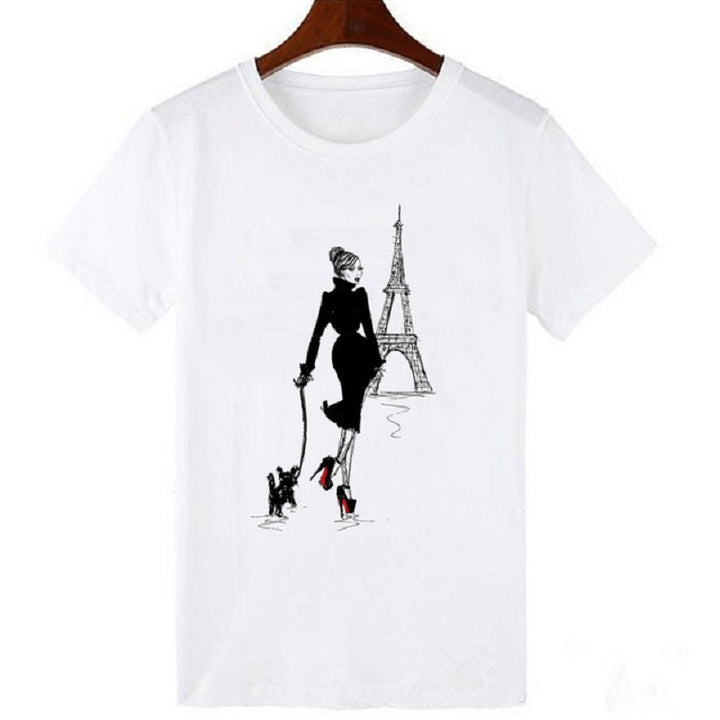 Women's Summer Casual Short-Sleeved O-Neck T-Shirt With Print
