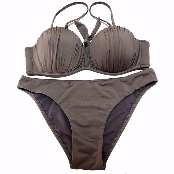 Wavy Push Up Top & Solid Bottom Bikini Set - Zorket