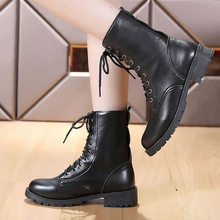 Women's Spring Leather Ankle Boots | Plus Size