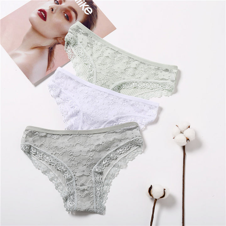 Women's Lace Low-Rise 3 Pcs Panties