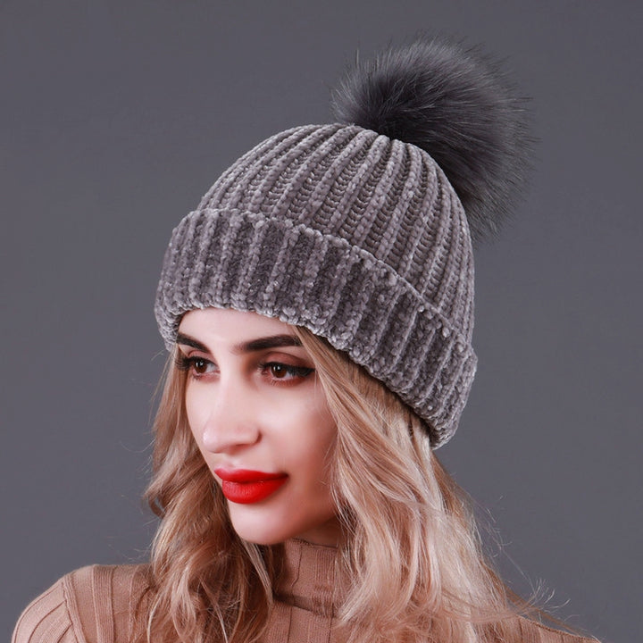 Women's Winter Casual Warm Hat With Pompom