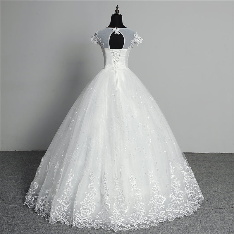 Women's O-Neck Lace Long Wedding Dress With Lace-Up