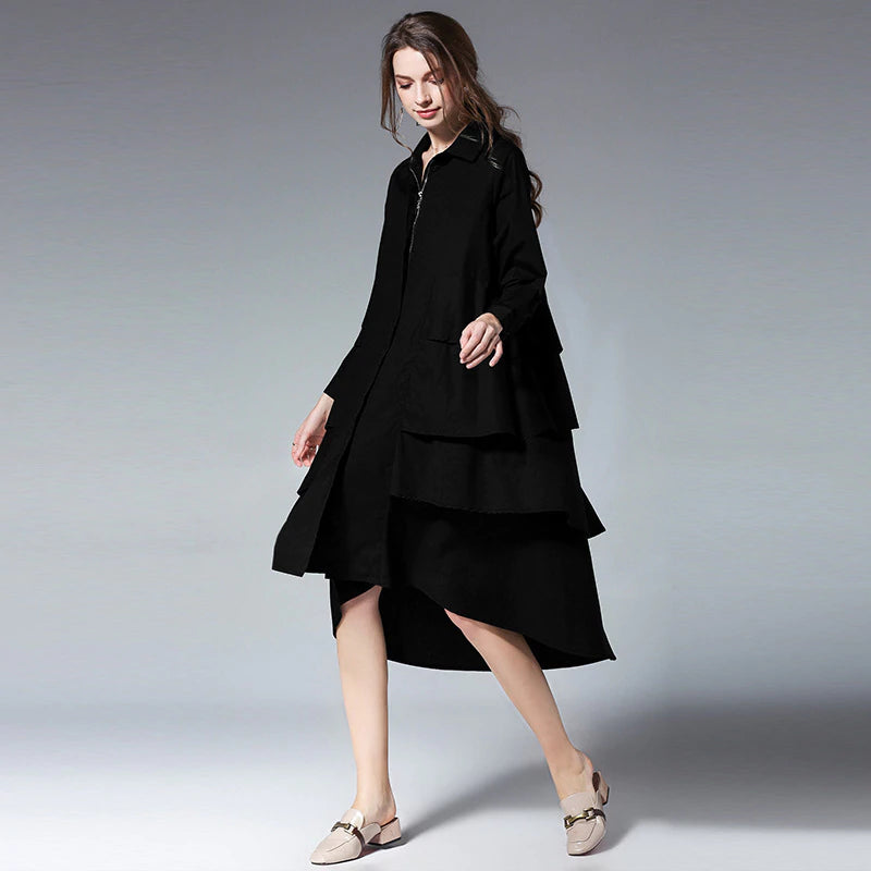 Women's Spring Long-Sleeve Loose Dress | Plus Size